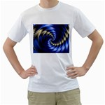 Blue Spin into Dizziness Fantasy Fractal White T-Shirt