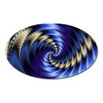 Blue Spin into Dizziness Fantasy Fractal Magnet (Oval)