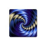 Blue Spin into Dizziness Fantasy Fractal Magnet (Square)
