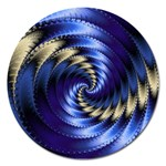 Blue Spin into Dizziness Fantasy Fractal Magnet 5  (Round)