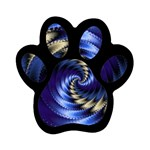 Blue Spin into Dizziness Fantasy Fractal Magnet (Paw Print)