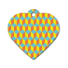 Cube Hexagon Pattern Yellow Blue Dog Tag Heart (one Side)