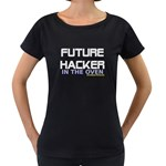 Future hacker in the oven Maternity Black T-Shirt