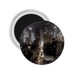 New York Gothic Dark Cityscape at Night 2.25  Magnet