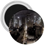 New York Gothic Dark Cityscape at Night 3  Magnet