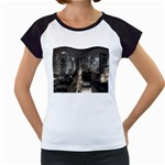 New York Gothic Dark Cityscape at Night Women s Cap Sleeve T
