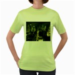 New York Gothic Dark Cityscape at Night Women s Green T-Shirt