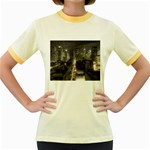 New York Gothic Dark Cityscape at Night Women s Fitted Ringer T-Shirt