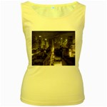 New York Gothic Dark Cityscape at Night Women s Yellow Tank Top