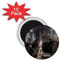 New York Gothic Dark Cityscape at Night 1.75  Magnet (10 pack)