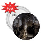 New York Gothic Dark Cityscape at Night 2.25  Button (10 pack)