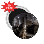 New York Gothic Dark Cityscape at Night 2.25  Magnet (10 pack)