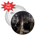 New York Gothic Dark Cityscape at Night 2.25  Button (100 pack)