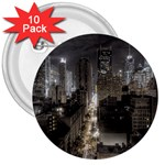 New York Gothic Dark Cityscape at Night 3  Button (10 pack)