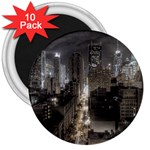 New York Gothic Dark Cityscape at Night 3  Magnet (10 pack)
