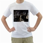 New York Gothic Dark Cityscape at Night White T-Shirt