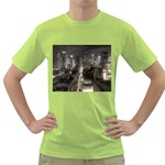 New York Gothic Dark Cityscape at Night Green T-Shirt