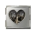 New York Gothic Dark Cityscape at Night Mega Link Heart Italian Charm (18mm)