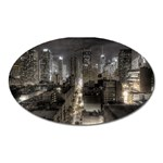 New York Gothic Dark Cityscape at Night Magnet (Oval)