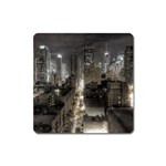 New York Gothic Dark Cityscape at Night Magnet (Square)