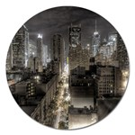 New York Gothic Dark Cityscape at Night Magnet 5  (Round)