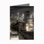 New York Gothic Dark Cityscape at Night Mini Greeting Card