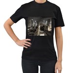 New York Gothic Dark Cityscape at Night Women s Black T-Shirt