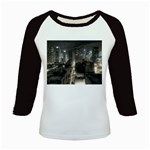 New York Gothic Dark Cityscape at Night Kids Baseball Jersey