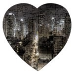 New York Gothic Dark Cityscape at Night Jigsaw Puzzle (Heart)