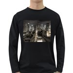 New York Gothic Dark Cityscape at Night Long Sleeve Dark T-Shirt