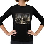 New York Gothic Dark Cityscape at Night Women s Long Sleeve Dark T-Shirt