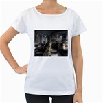 New York Gothic Dark Cityscape at Night Maternity White T-Shirt