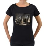 New York Gothic Dark Cityscape at Night Maternity Black T-Shirt