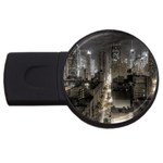 New York Gothic Dark Cityscape at Night USB Flash Drive Round (4 GB)