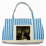 New York Gothic Dark Cityscape at Night Striped Blue Tote Bag