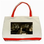 New York Gothic Dark Cityscape at Night Classic Tote Bag (Red)
