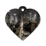 New York Gothic Dark Cityscape at Night Dog Tag Heart (Two Sides)