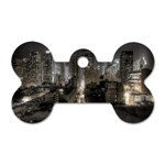 New York Gothic Dark Cityscape at Night Dog Tag Bone (Two Sides)