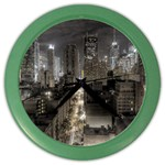 New York Gothic Dark Cityscape at Night Color Wall Clock