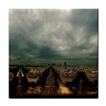 Gothic City Landscape and Storm Clouds Tile Coaster