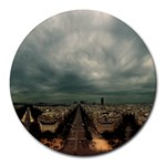 Gothic City Landscape and Storm Clouds Round Mousepad