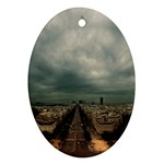 Gothic City Landscape and Storm Clouds Ornament (Oval)