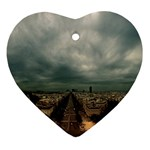 Gothic City Landscape and Storm Clouds Ornament (Heart)