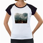 Gothic City Landscape and Storm Clouds Women s Cap Sleeve T