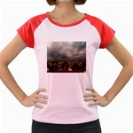 Gothic City Landscape and Storm Clouds Women s Cap Sleeve T-Shirt