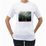 Gothic City Landscape and Storm Clouds Women s T-Shirt