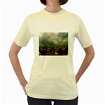 Gothic City Landscape and Storm Clouds Women s Yellow T-Shirt