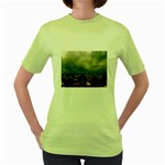 Gothic City Landscape and Storm Clouds Women s Green T-Shirt