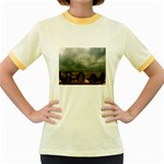 Gothic City Landscape and Storm Clouds Women s Fitted Ringer T-Shirt