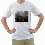 Gothic City Landscape and Storm Clouds White T-Shirt